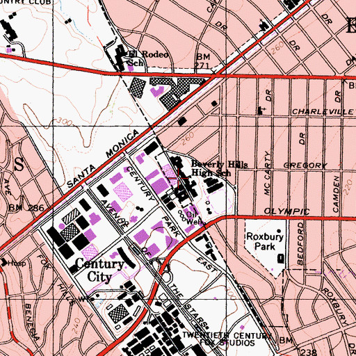 Topographic Map of Beverly Hills High School, CA