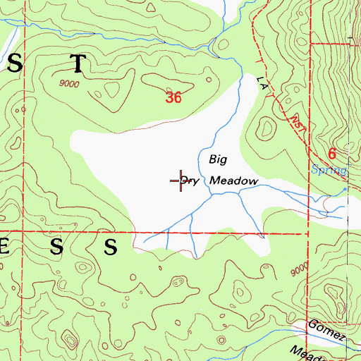 Topographic Map of Big Dry Meadow, CA