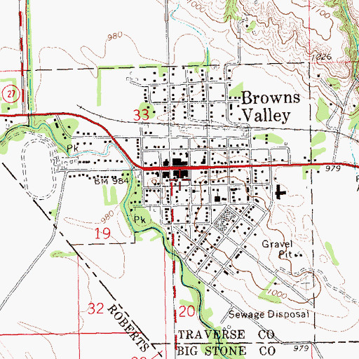 Topographic Map of City of Browns Valley, MN