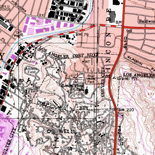 Topographic Map of Blair Hills Park, CA