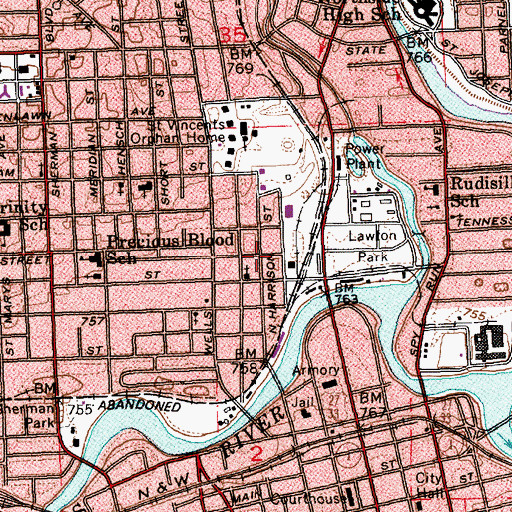 Topographic Map of City of Fort Wayne, IN