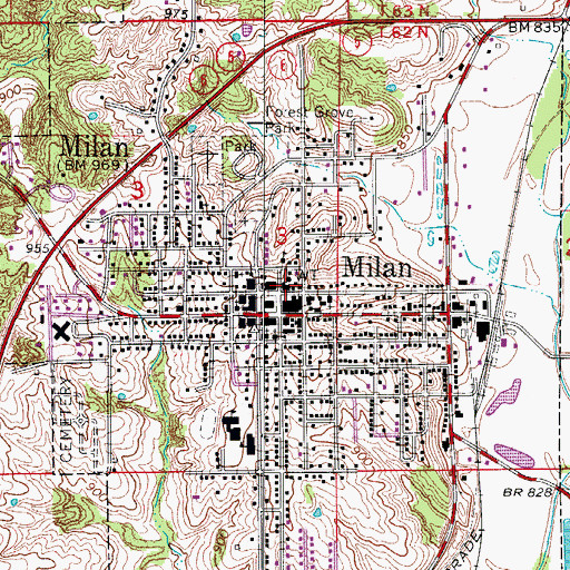 Topographic Map of City of Milan, MO