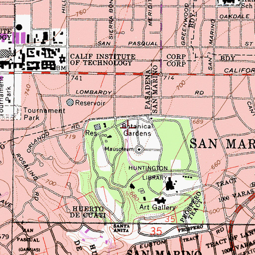 Topographic Map of Botanical Gardens, CA