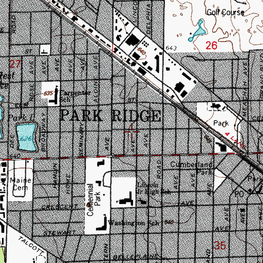 Topographic Map of City of Park Ridge, IL