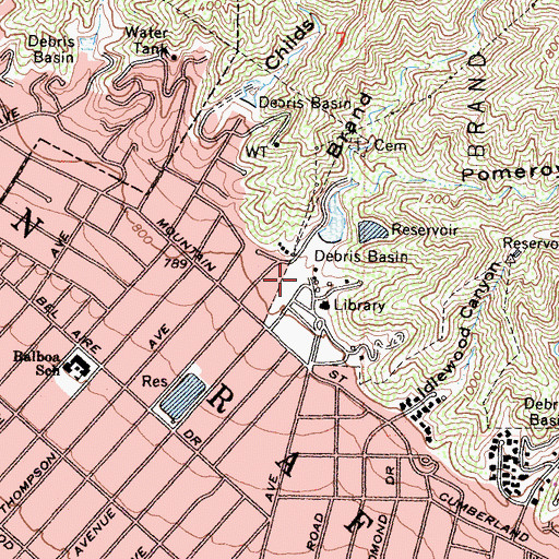 Topographic Map of Brand Canyon, CA