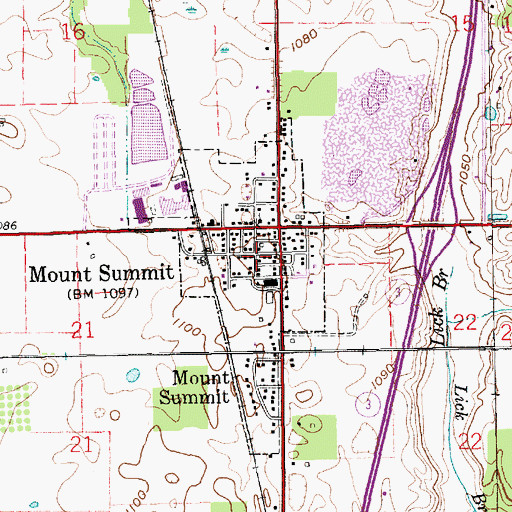 Topographic Map of Town of Mount Summit, IN