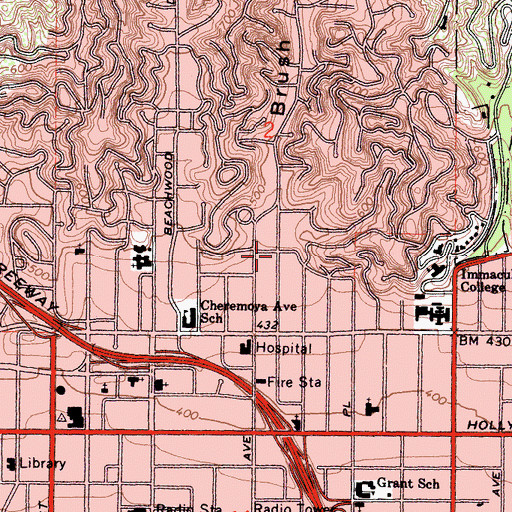 Topographic Map of Brush Canyon, CA