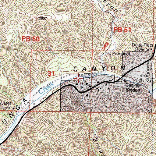 Topographic Map of Bryant Canyon, CA