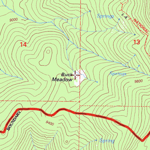 Topographic Map of Buck Meadow, CA