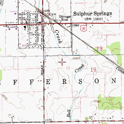 Topographic Map of Town of Sulphur Springs, IN
