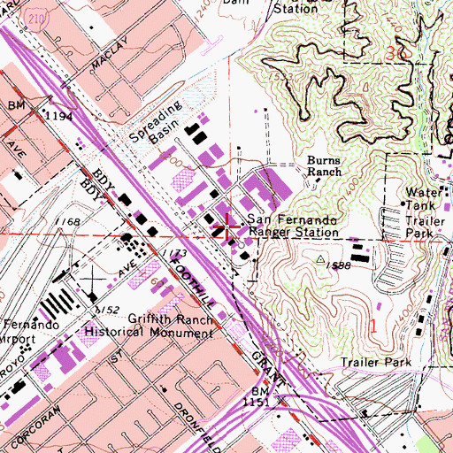 Topographic Map of Burns Ranch, CA