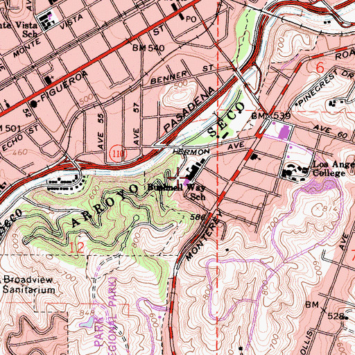 Topographic Map of Bushnell Way Elementary School, CA