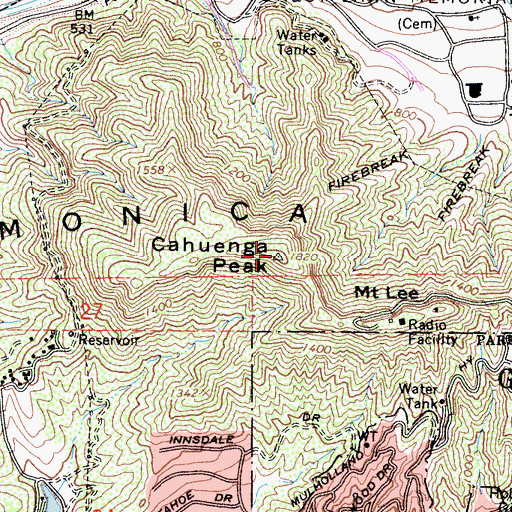 Topographic Map of Cahuenga Peak, CA