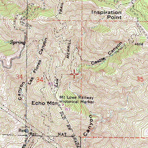 Topographic Map of Castle Canyon, CA