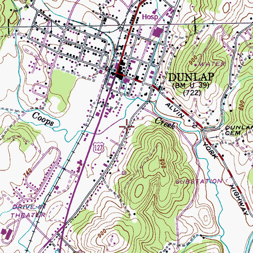 Topographic Map of City of Dunlap, TN