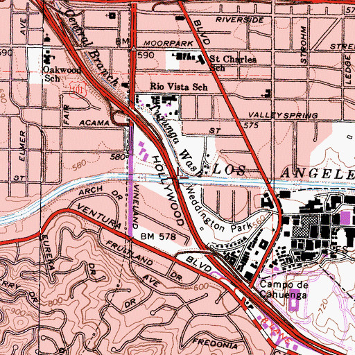 Topographic Map of Central Branch Tujunga Wash, CA