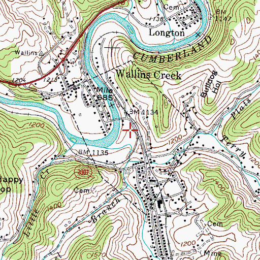 Topographic Map of City of Wallins Creek, KY