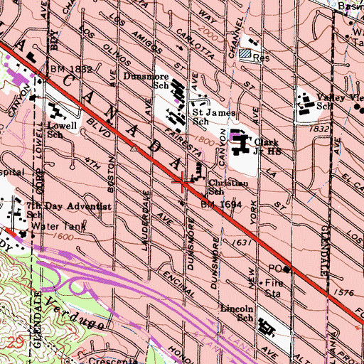 Topographic Map of Lutheran School of the Foothills, CA