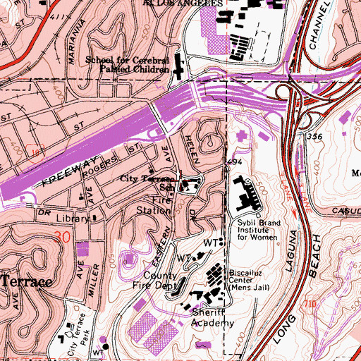 Topographic Map of City Terrace Elementary School, CA