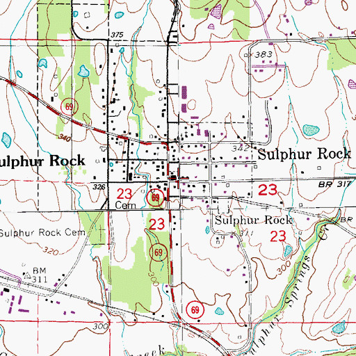 Topographic Map of Town of Sulphur Rock, AR