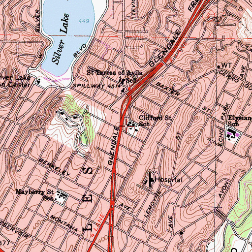 Topographic Map of Clifford Street Elementary School, CA