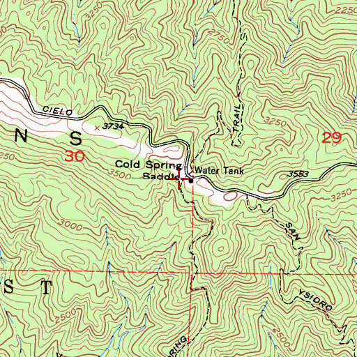 Topographic Map of Cold Spring Saddle, CA