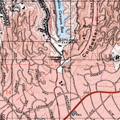 Topographic Map of Coldwater Canyon Park, CA