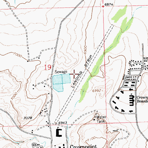 Topographic Map of Crownpoint Census Designated Place, NM
