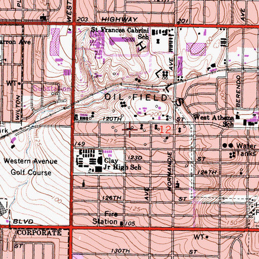 Topographic Map of West Athens Census Designated Place, CA