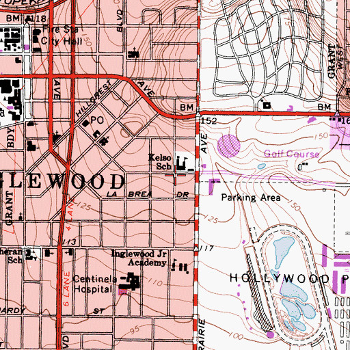 Topographic Map of City of Inglewood, CA