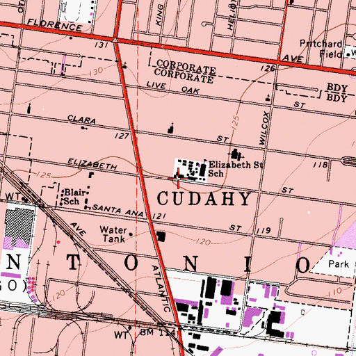 Topographic Map of City of Cudahy, CA