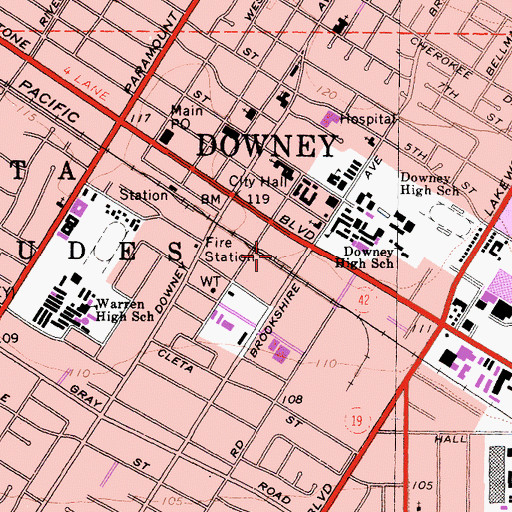 Topographic Map of City of Downey, CA