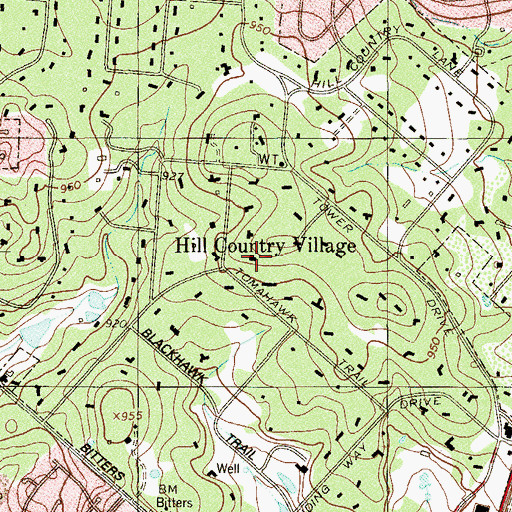 Topographic Map of City of Hill Country Village, TX