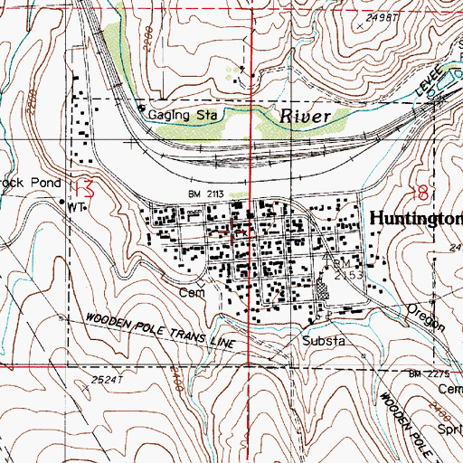 Topographic Map of City of Huntington, OR