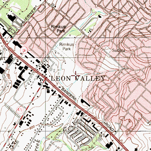 Topographic Map of City of Leon Valley, TX