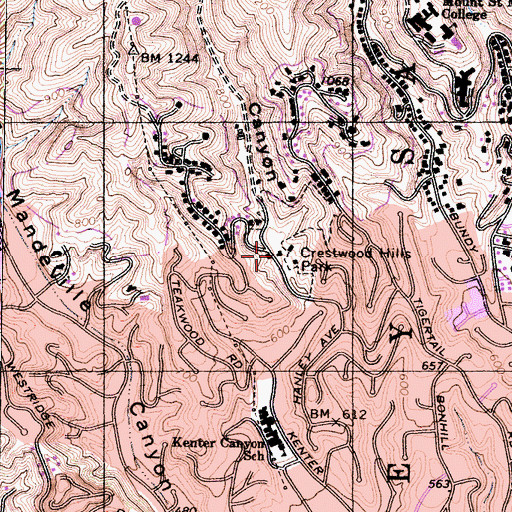 Topographic Map of Crestwood Hills Park, CA