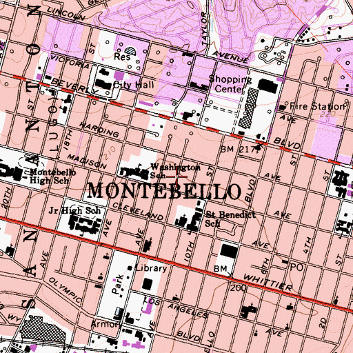 Topographic Map of City of Montebello, CA