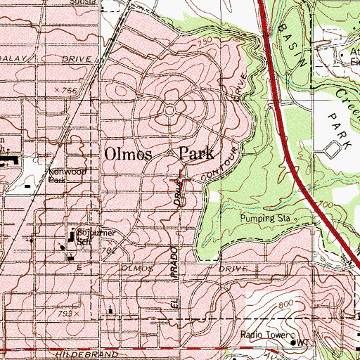 Topographic Map of City of Olmos Park, TX