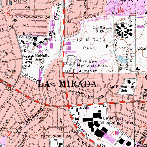 Topographic Map of City of La Mirada, CA