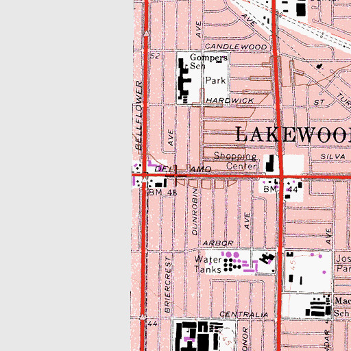 Topographic Map of City of Lakewood, CA