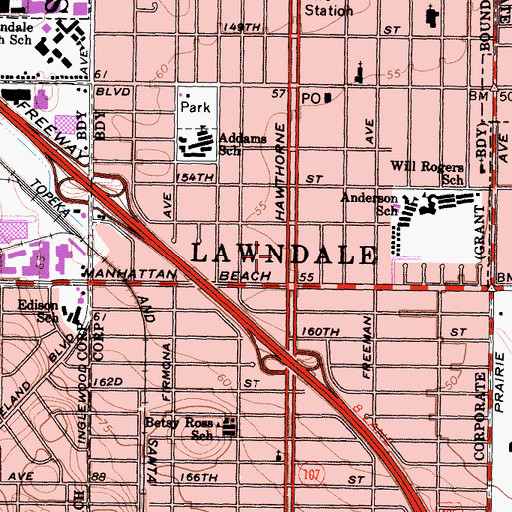 Topographic Map of City of Lawndale, CA