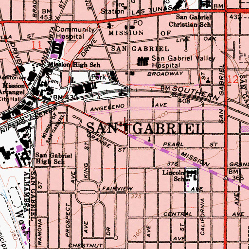Topographic Map of City of San Gabriel, CA