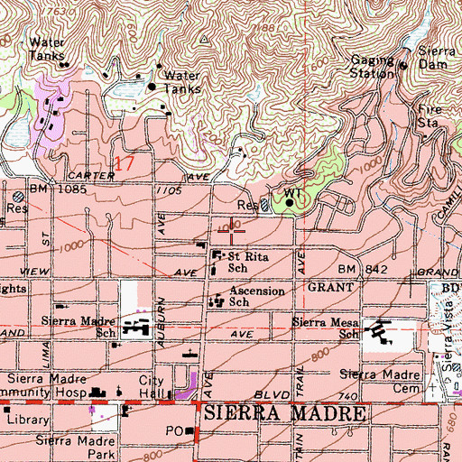 Topographic Map of City of Sierra Madre, CA