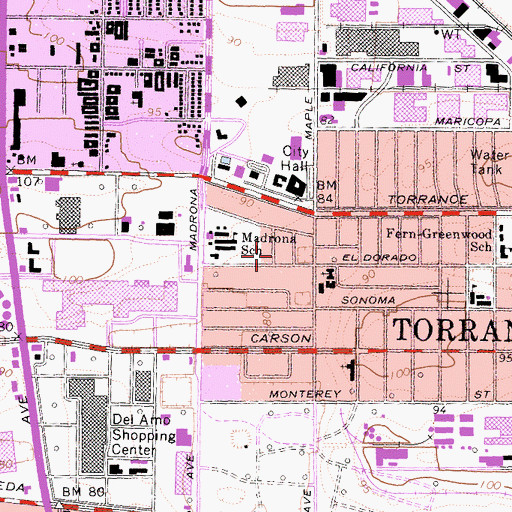 Topographic Map of City of Torrance, CA