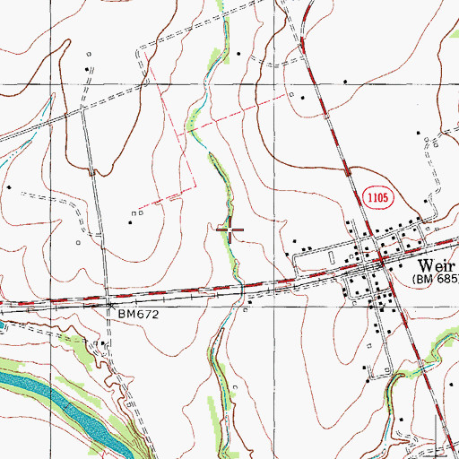 Topographic Map of City of Weir, TX