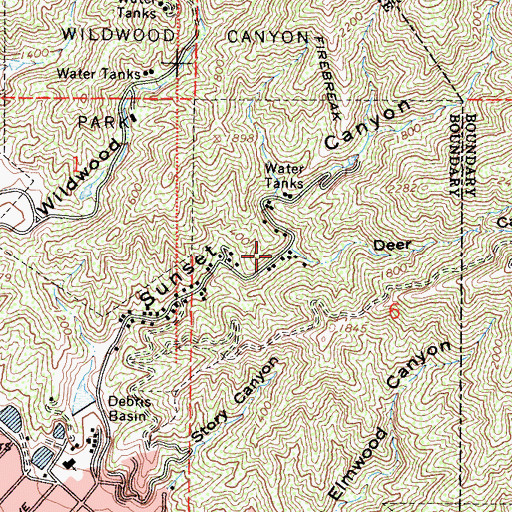 Topographic Map of Deer Canyon, CA