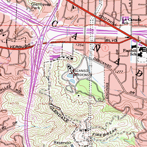 Topographic Map of Descanso Gardens, CA
