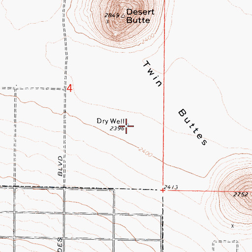 Topographic Map of Dry Well, CA