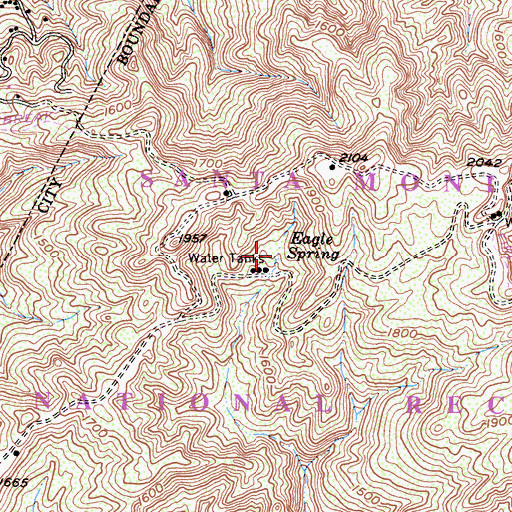 Topographic Map of Eagle Spring, CA