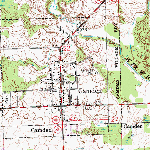 Topographic Map of Camden Missionary Church, MI